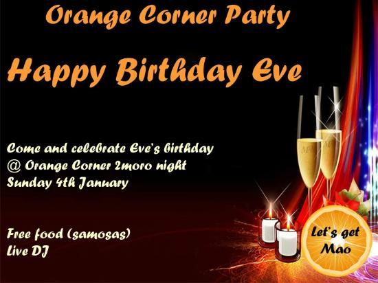 Orange Corner: Birthday Party for Eve