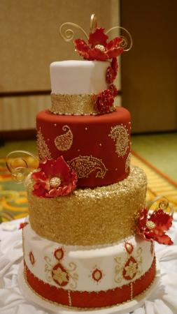 Red and gold wedding cake Picture of Cake Expressions By Lisa