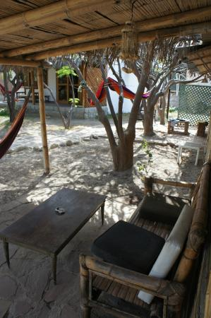 Laguna Surf Camp: Seating area in front of dorm bungalow