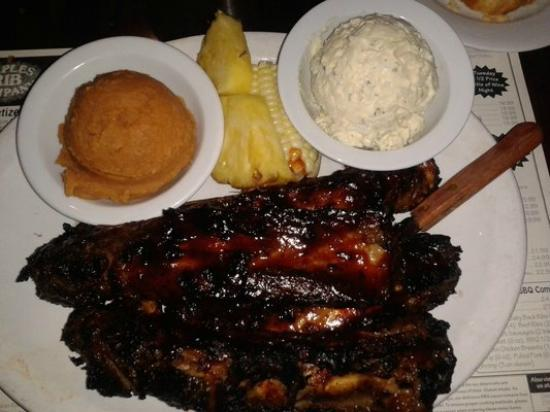 Naples Rib Company: Beef Ribs,Mashed Seet Potatoes,Potato Salad