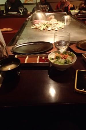 Teppan Village: miso soup, sauces and salad