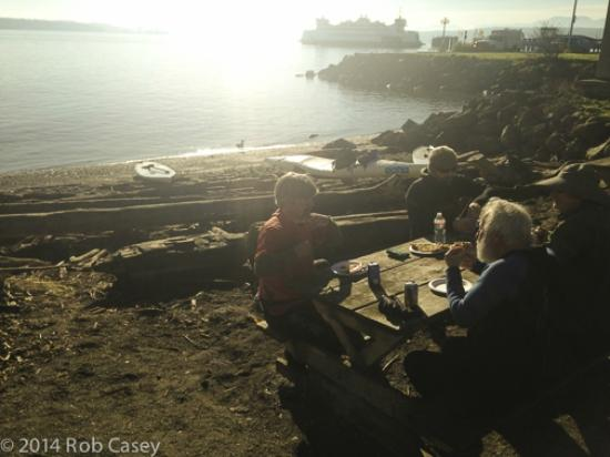 Better Living Through Coffee: Picnic table coffee shop view of bay and ferry