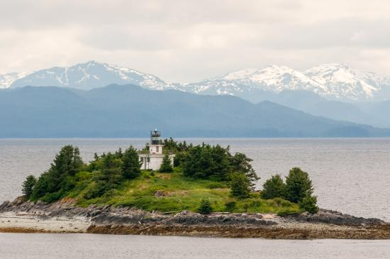 Guard Island Lighthouse: Lighthouse and Mountains