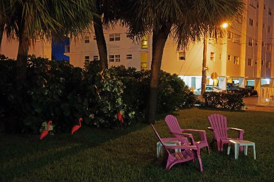 Marine Villas : The front lawn with flamingos