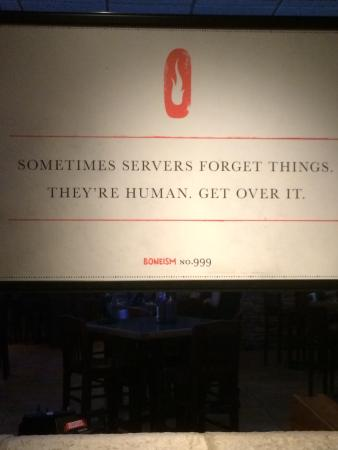 Smokey Bones Bar & Fire Grill: They at least warn you