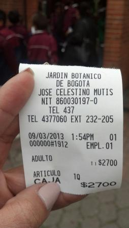 Boleto de entrada! - Picture of Jardin Botanico de Bogota Jose ...