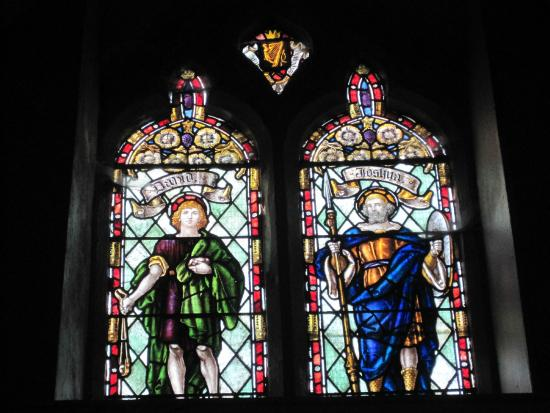 Bangor Abbey: David & Joshua windows in the tower