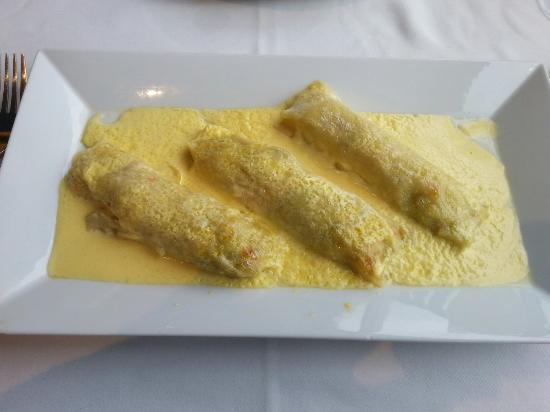 El Dorado Mar : Canelones de pescado y marisco.