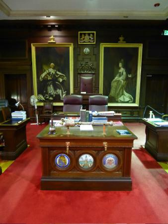 Hamilton, Bermuda: The Mace, the Clerks' desk and the Speaker's chair.