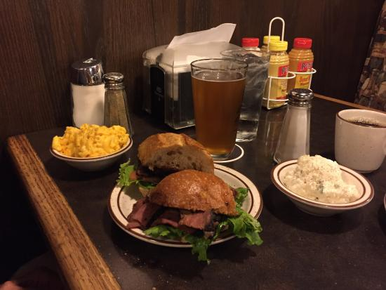 Harry's Hofbrau: Pastrami sandwich, potato salad, Mac n cheese with Stone Brewing IPA