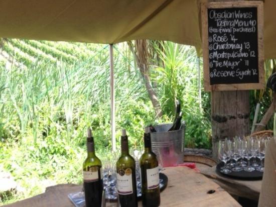Obsidian Vineyard : ワイン畑の横でテイスティング