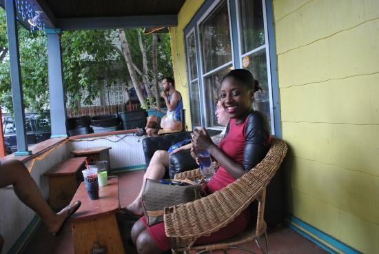 Glenwood Springs Hostel: On the porch (entrance)