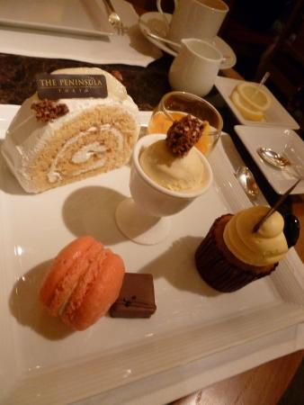 Delicious dessert plate at hotel basement cafe