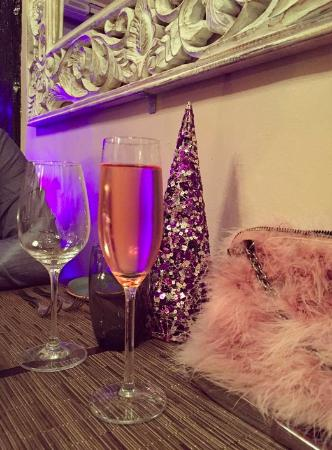 The Barn Restaurant: Sparkling rose - love the xmas decorations!