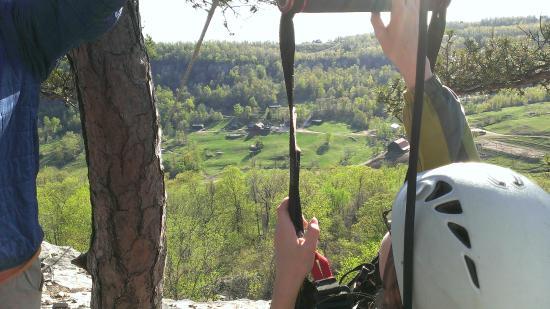 Horseshoe Canyon Ranch Zipline: Top of the zipline, ready for launch