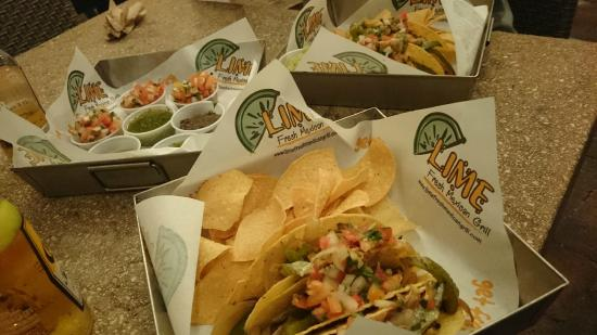 Lime: Steak'n Cheese Tacos + many of the free side sauces + guacamole