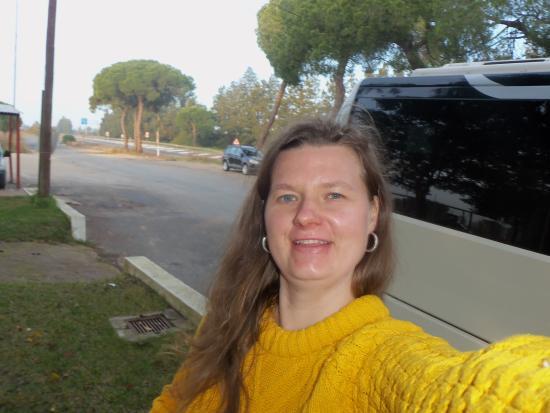 Follow me tours bus near Isla Christina Espana