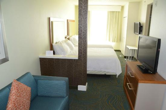 Inside the hotel room two queen size beds two tvs a for Sofa bed hotel