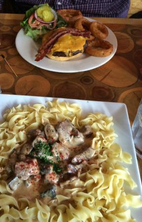 Beef Stroganoff and Medici Burger with onion rings