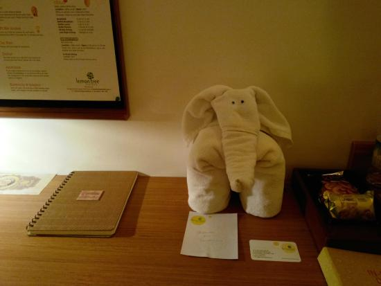 Lemon Tree Hotel, Chennai: Elephant created with towels- Housekeeping staff