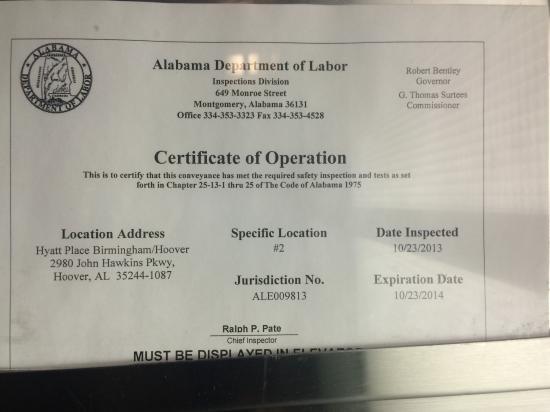 Hyatt Place Birmingham/Hoover: Elevator Inspection Expired