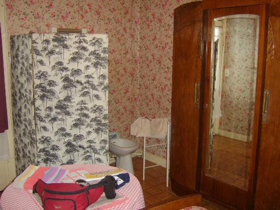 Hotel Rousseau : Commodités dans la chambre ; armoire, lavabo, bidet, paravent