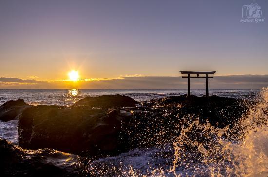 Oarai-machi, Japón: 2015年に神磯の鳥居で見られた初日の出です。他の写真はこちら → http://www.makotoigari-fieldwork.com/