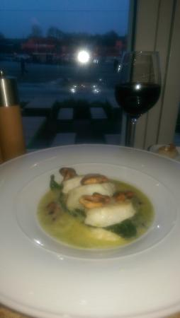 Cafe Alfred: monkfish with home made mash potatoes , super nice mussel cream with nice acidity and dill flavo