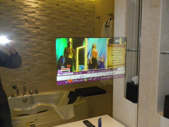 Le Meridien Dubai Hotel Conference Centre Bathroom Mirror With Embedded TV