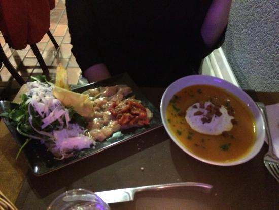 melton's : Soupe potiron et caropaccio saumon