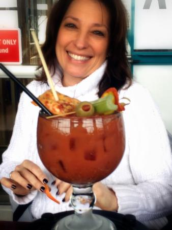 Silver Beach Pizza: Those Bloody Mary's - Sunday brunch it comes garnished with pizza