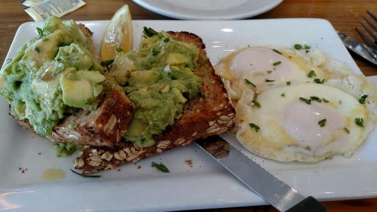 First Watch: Avocado Toast with basted eggs.