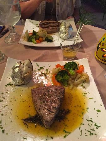 Nardo's: Seared Yellowfin Tuna in rosemary garlic butter and Bacon Wrapped Mahi Mahi
