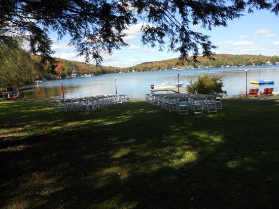 Scott's Family Resort : View of setup for outdoor wedding