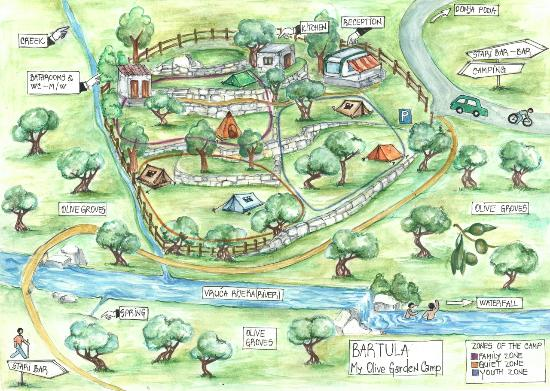 Delightful Bartula   My Olive Garden Camp: Drawn Map Of Our Campsite