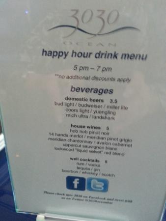 3030 Ocean: Happy Hour Drink Menu
