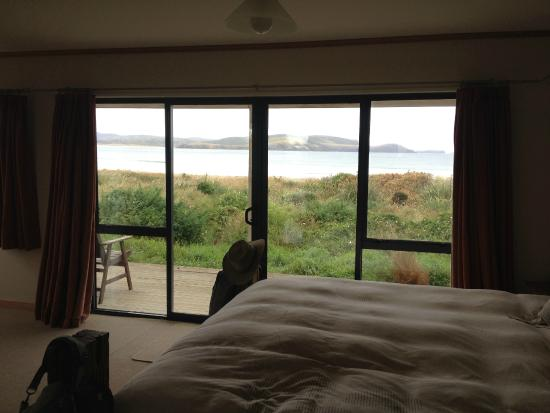 Curio Bay Accommodation: View to sea from the bed.