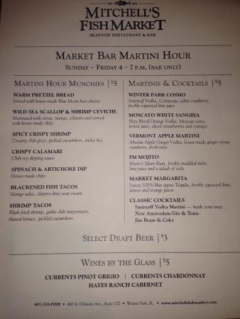 happy hour menu picture of mitchell 39 s fish market