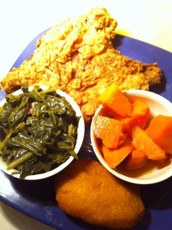 Mother Kelley S Home Cooking Fried Pork Chop Collard Greens Candied Yams And Hot