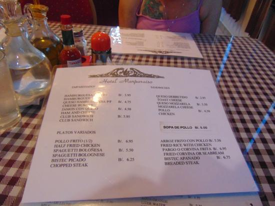 Hotel Marparaiso: Drink Menu