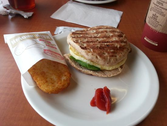 Egg White, Turkey Sausage, Spinach Breakfast Sandwich at Tim ...