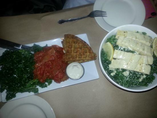 Sacred Chow : Tapas (Dijon Marinated Raw Kale, Soy-Meatballs, Root Vegetable Latkes) and the Nama Gori Kale Ca