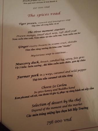 MENU Picture Of Porte DAnnam Restaurant Hanoi TripAdvisor - Porte menu restaurant