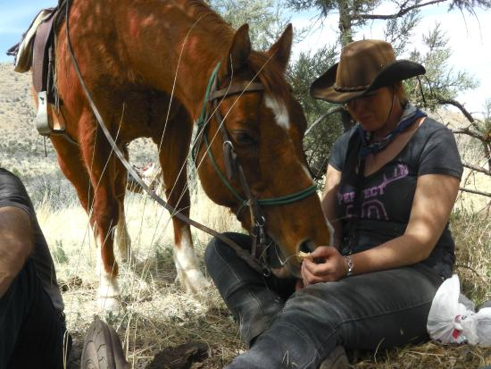 Hideout Ranch: Ike and Karin share lunch...