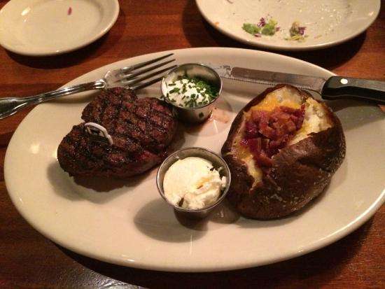 Wood Ranch BBQ & Grill: My steak and baked potato. No awards for  presentation - Wood Ranch - Picture Of Wood Ranch BBQ & Grill, Ventura - TripAdvisor