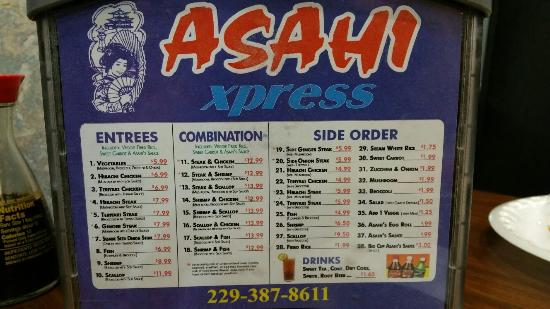 Asahi Express Japanese Steak: Menu
