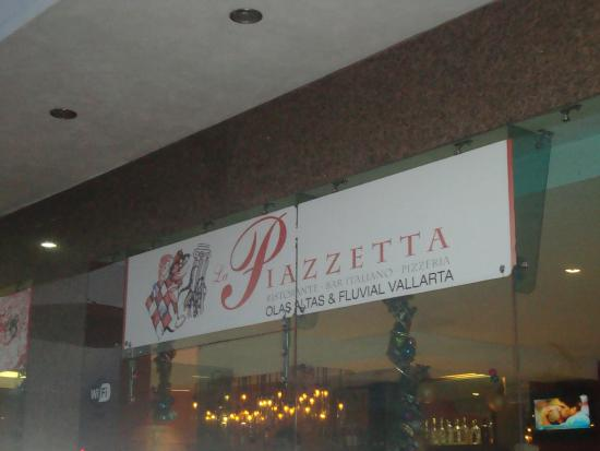 La Piazzetta: sign at Fluvial address