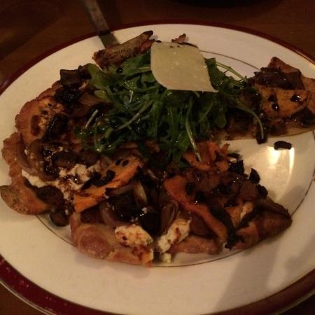 Marzano's Restaurant: Gluten free pizza with winter squash, balsamic vinegar and cartelized onions.