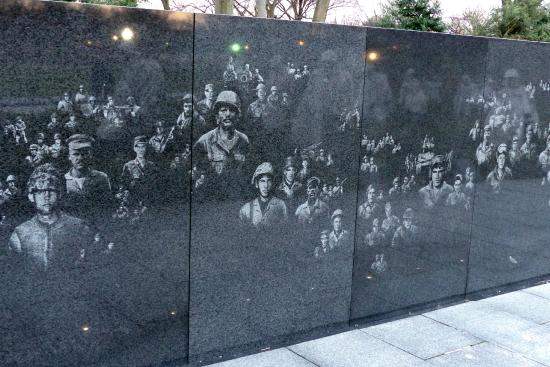The Granite Wall At The Korean War Veterans Memorial