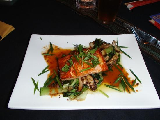 Spice Bistro: Grilled salmon with asian vegetables and mushrooms.